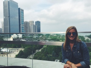 Rooftop bar overlooking Chicago